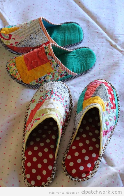 Pantuflas o zapatillas de patchwork paso a paso el - Como hacer mantas de patchwork ...