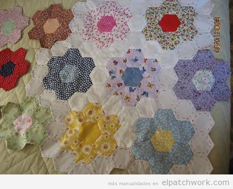 Molde gratis del quilt grandmothers flower garden para - Colchas password para hacer ...