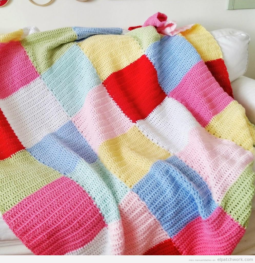 Mantas de patchwork hechas con ganchillo o crochet 4