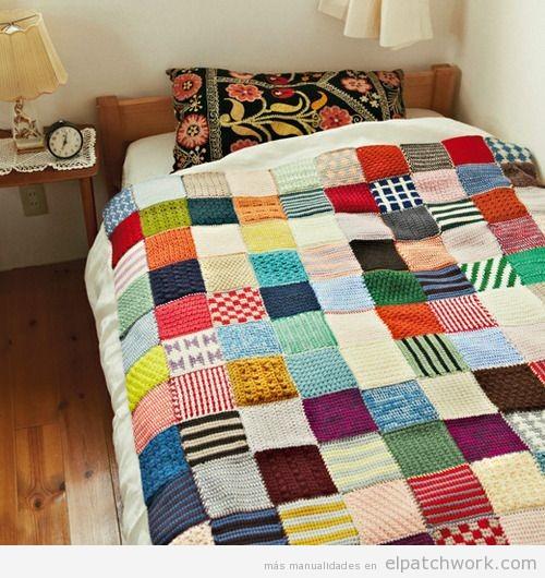 Mantas de patchwork hechas con ganchillo el patchwork - Patrones para colchas de patchwork ...