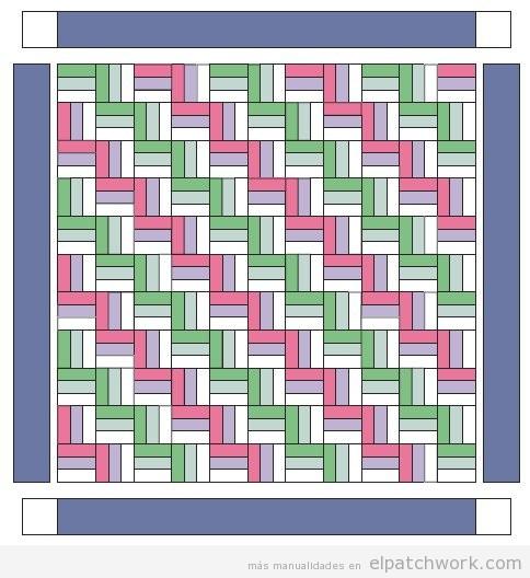Patrón patchwork quilting forma zigzag