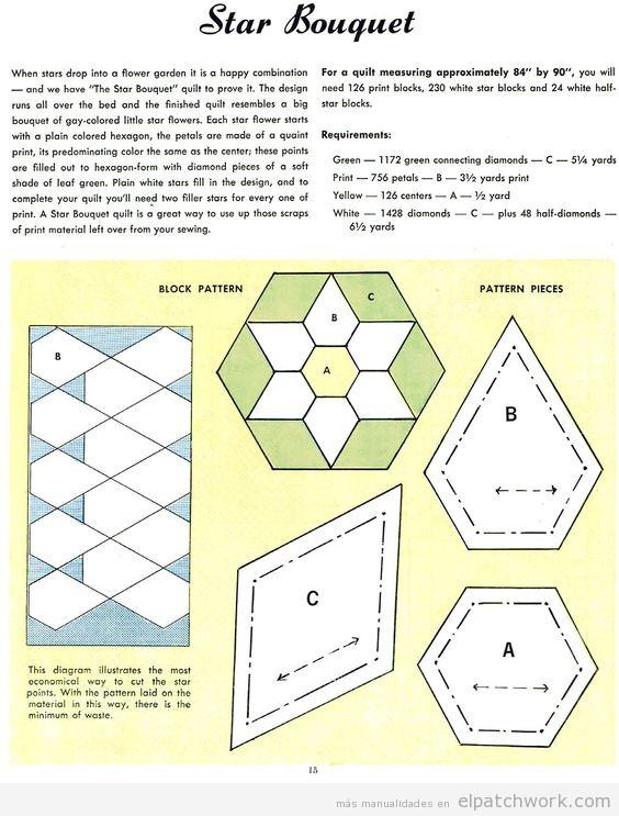 Patrón patchwork pentagono flor