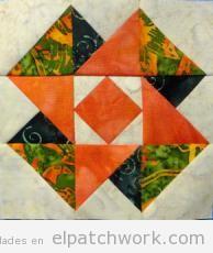 Resultado en tela del patrón gratis patchwork castillo en el aire