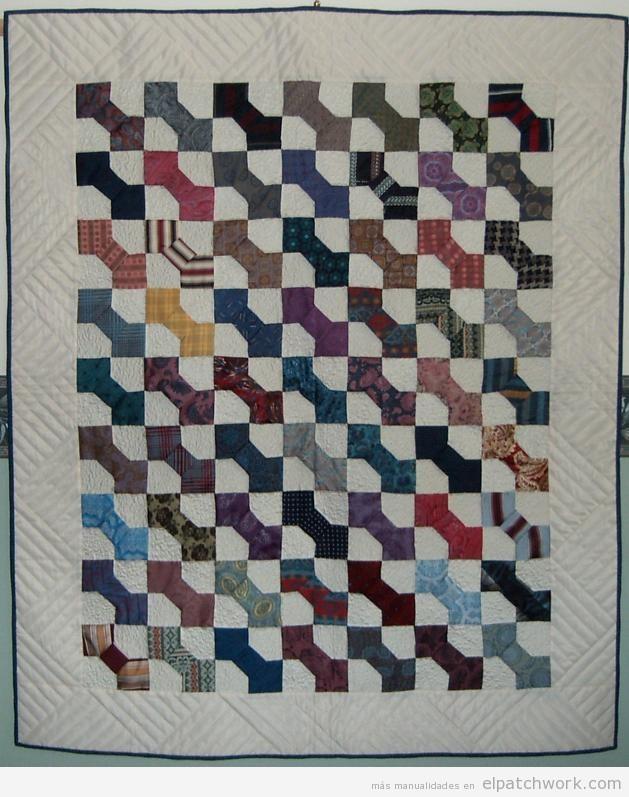 Colcha quilting o patchwork modelo pajarita