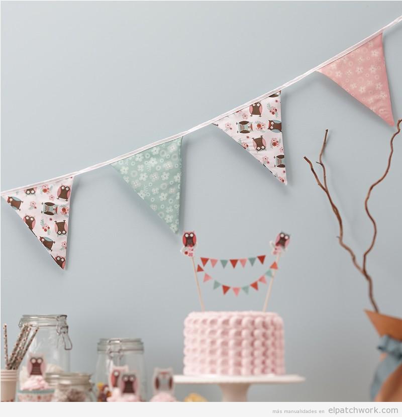 Guirnalda banderines triangulares patchwork tonos pastel