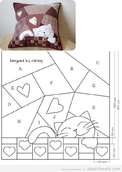 Patrón gratis cojín patchwork gato