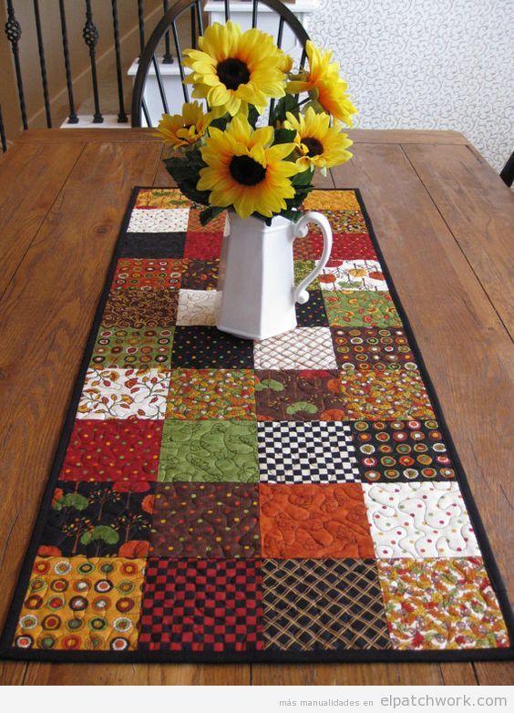camino de mesa patchwork con quilt cuadrado para otoo - Caminos De Mesa