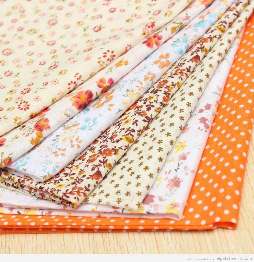 Telas patchwork colores naranja y marrón, comprar online