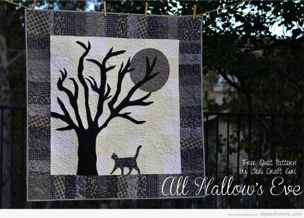 Tutorial colcha patchwork Halloween con árbol, gato y luna