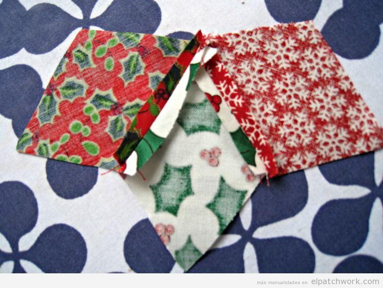 Tutorial adorno Navidad patchwork, estrella para árbol 4