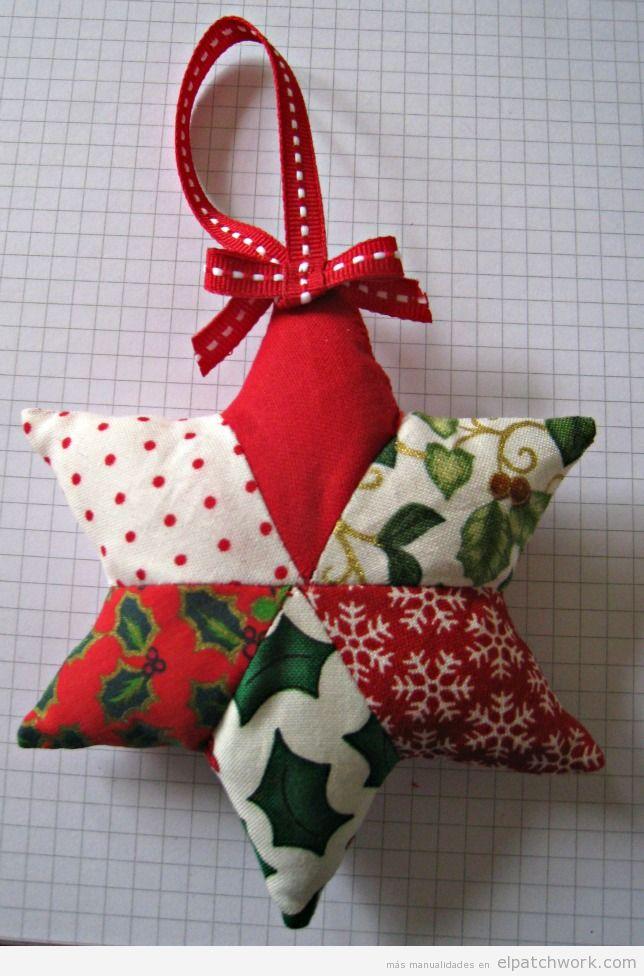 Tutorial adorno Navidad patchwork, estrella para árbol