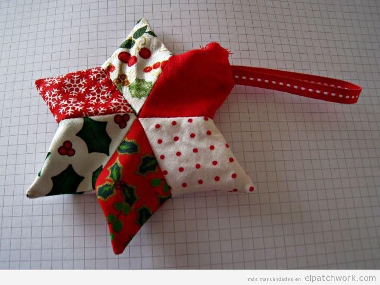 Tutorial adorno Navidad patchwork, estrella para árbol 5
