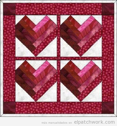 Quilt de patchwork con corazones