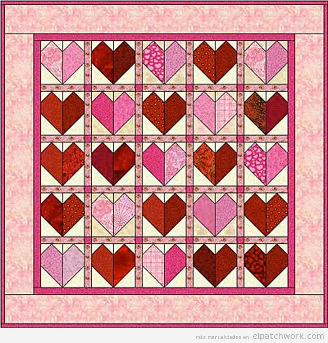 Colcha patchwork de corazones