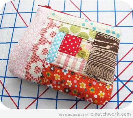 Monedero cierre cremallera de patchwork DIY