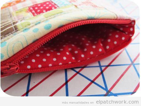 Monedero cierre cremallera de patchwork DIY 2