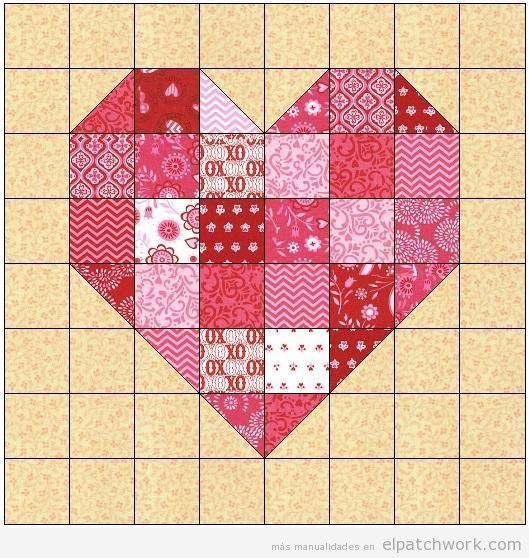 Patron corazón patchwork gratis