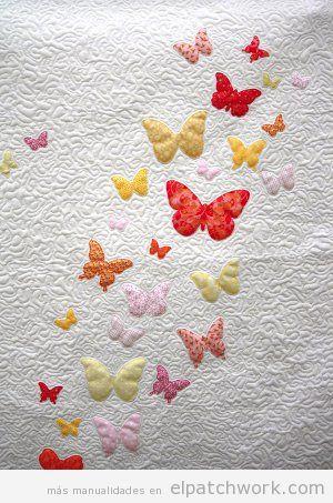 Tutorial colcha infantil apliques mariposas patchwork, paso 4