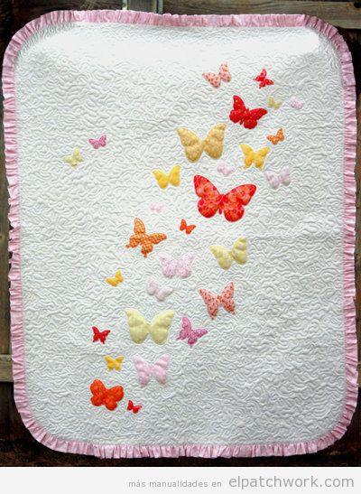 Tutorial colcha infantil apliques mariposas patchwork a pasos