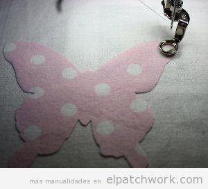 Tutorial colcha infantil apliques mariposas patchwork, paso 3