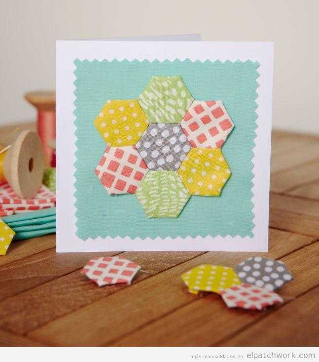 Manualidades patchwork Día de la Madre, postal