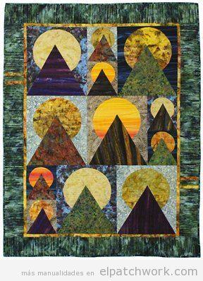 Colchas de patchwork con el quilt moon over the mountain