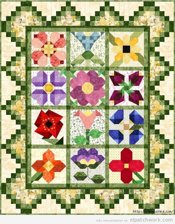 Patrón colcha de flores de patchwork