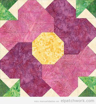 Patrones gratis para descargar de flores de patchwork 12
