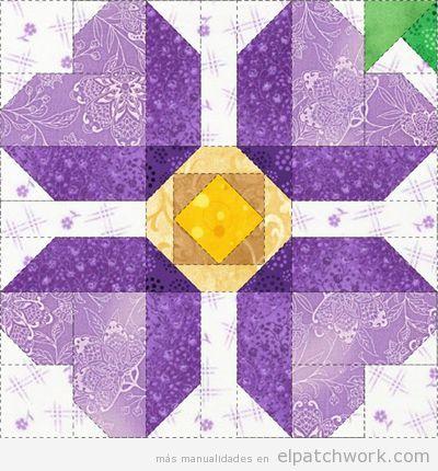 Patrones gratis para descargar de flores de patchwork 11