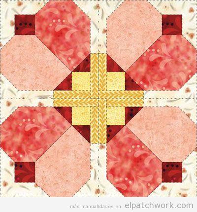 Patrones gratis para descargar de flores de patchwork 10