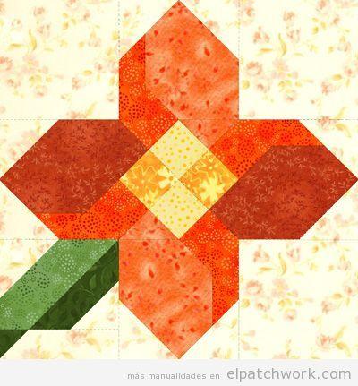 Patrones gratis para descargar de flores de patchwork 8