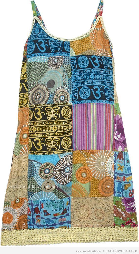 Vestido patchwork para verano hippie