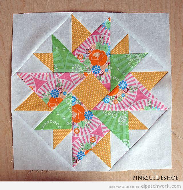 Patrón patchwork doble áster colorines