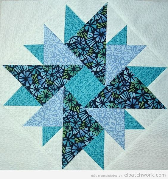Patrón patchwork doble áster azul