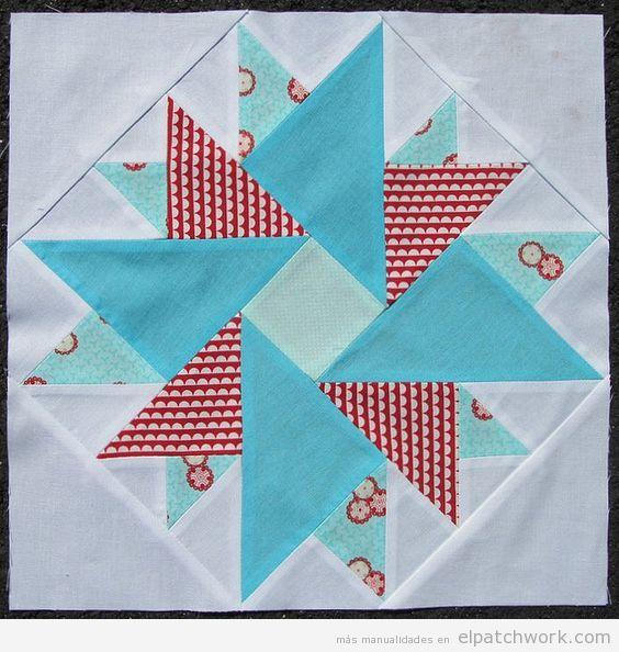 Patrón patchwork doble áster azul, rojo y blanco