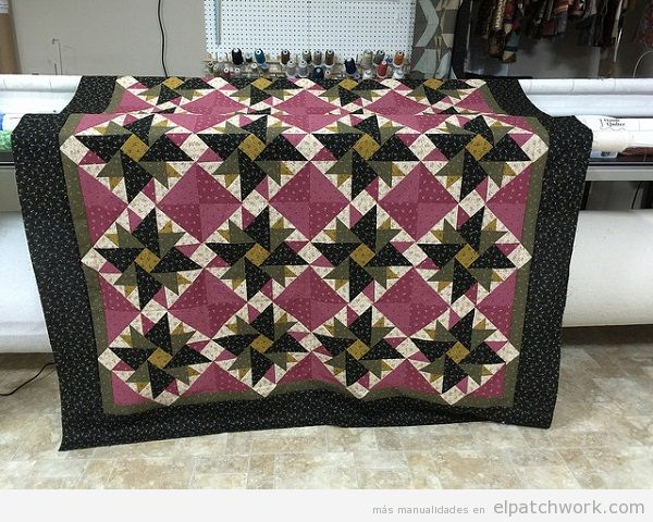 Colcha patchwork quilt doble áster 2