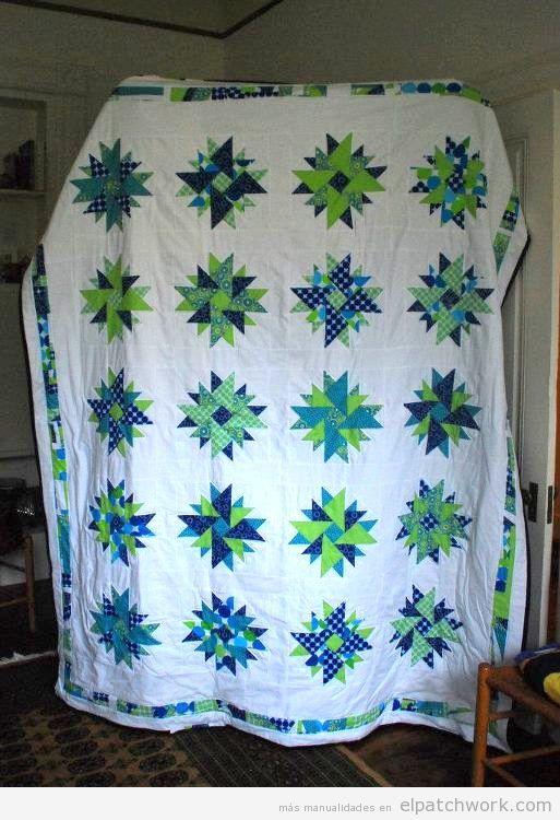 Colcha patchwork quilt doble áster