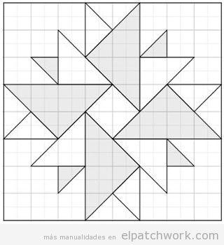 Patrón patchwork doble áster descargar gratis