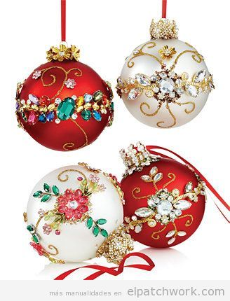 Bolas árbol Navidad decoradas con strass
