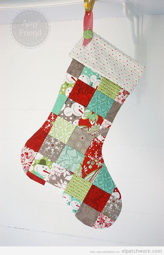 Calcetín Navidad patchwork