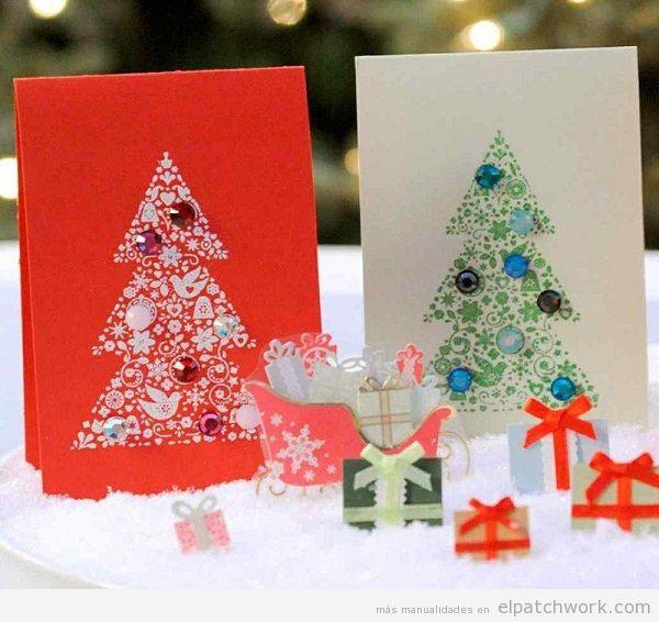 Postales Navidad decoradas con strass