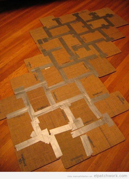 Alfombras patchwork DIY con muestrario reciclado 2