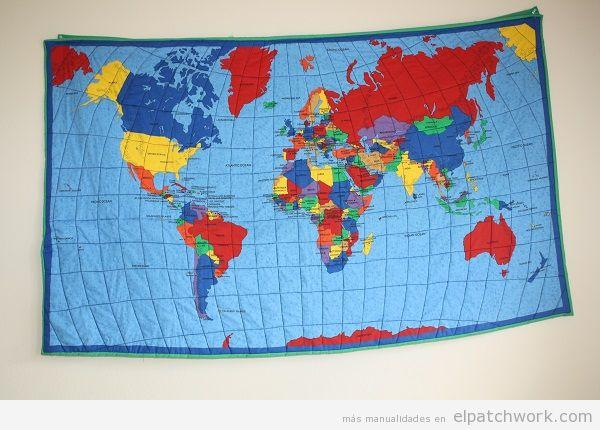 Colchas mapa mundi de patchwork 5