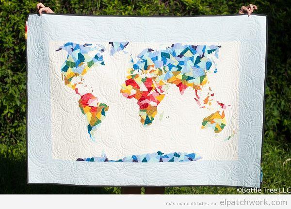 Colchas mapa mundi de patchwork