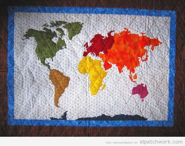 Colchas mapa mundi de patchwork 2