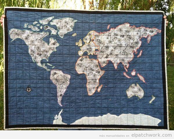 Colchas mapa mundi de patchwork 3