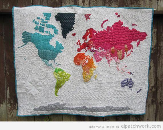 Colchas mapa mundi de patchwork 4