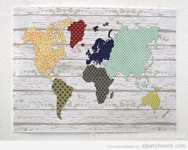 Cuadros mapa mundi de patchwork