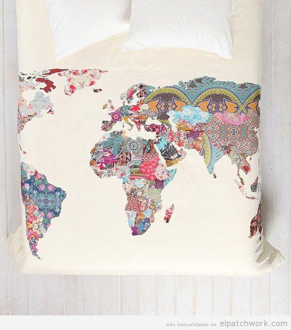 Funda edredón mapa mundi de patchwork