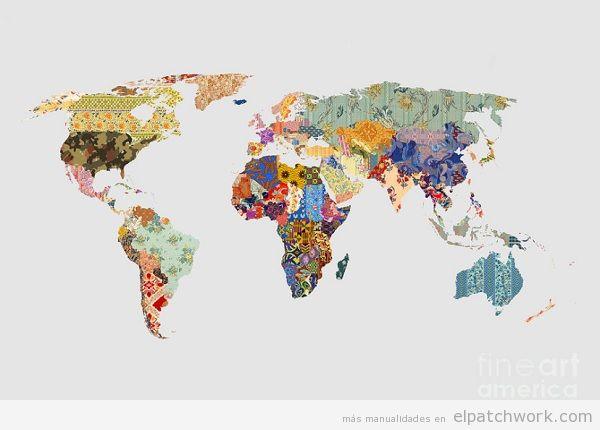 mapa mundi de patchwork